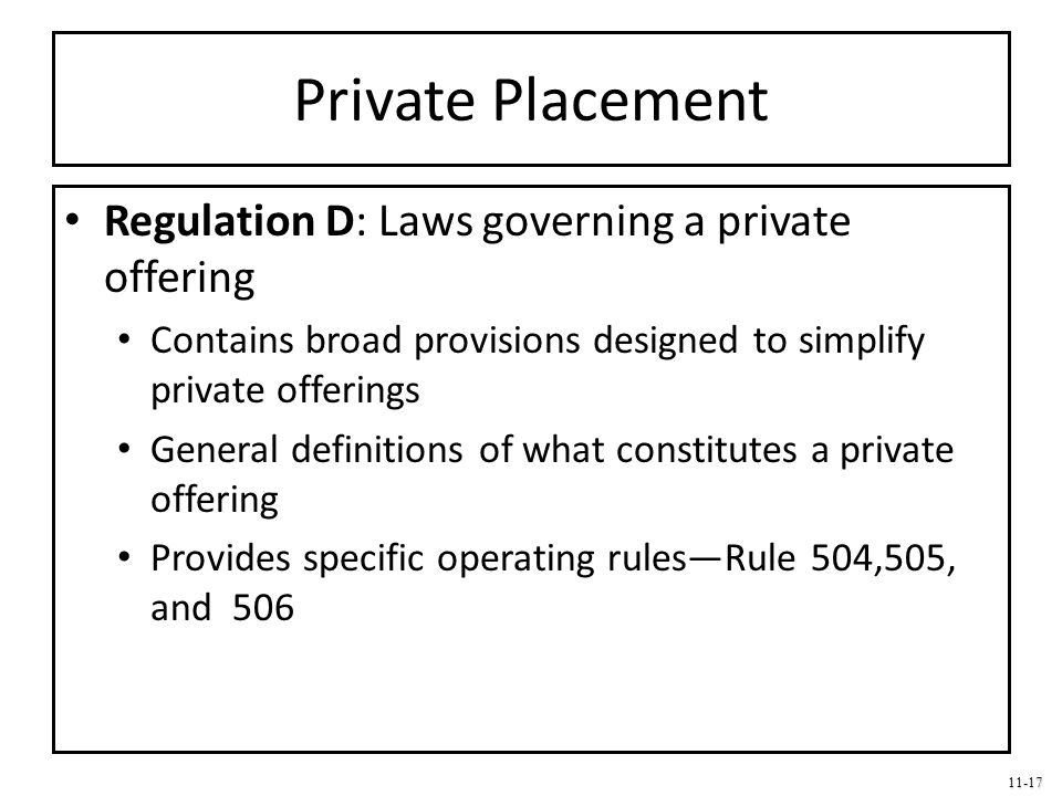 Private Placement Regulation D: Laws governing a private offering
