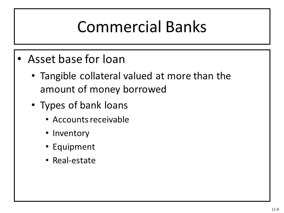 Commercial Banks Asset base for loan
