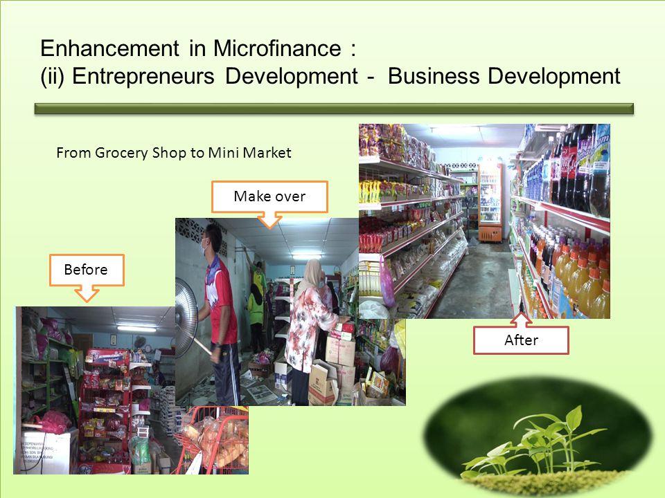Enhancement in Microfinance : (ii) Entrepreneurs Development - Business Development
