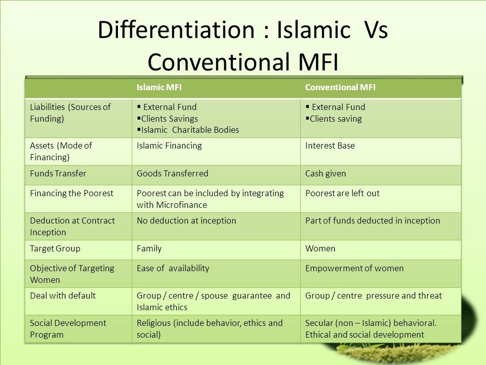 Differentiation : Islamic Vs Conventional MFI
