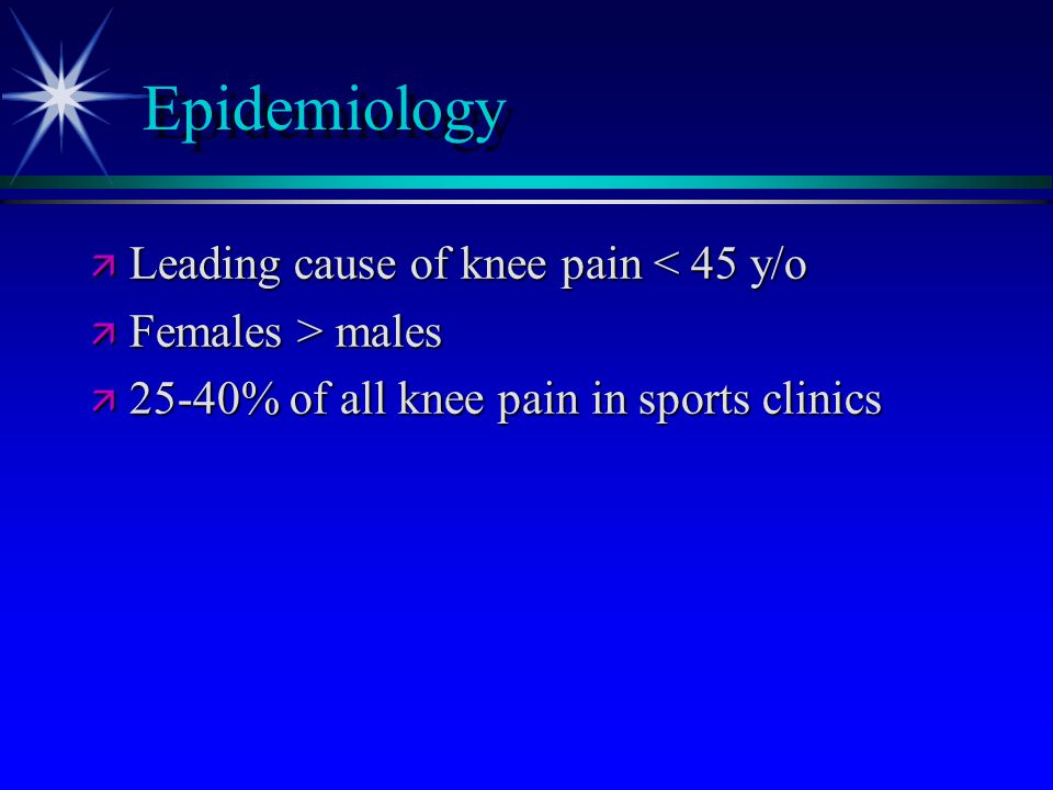 Epidemiology Leading cause of knee pain < 45 y/o Females > males