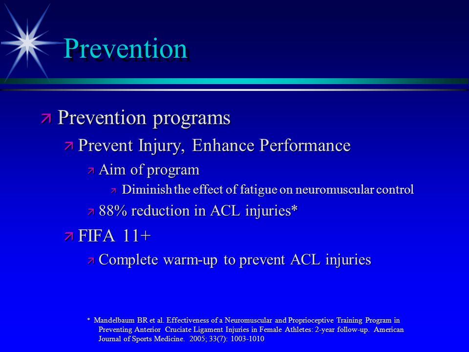 Prevention Prevention programs Prevent Injury, Enhance Performance