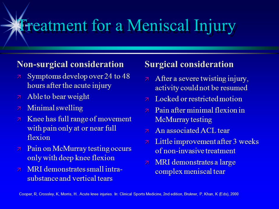 Treatment for a Meniscal Injury