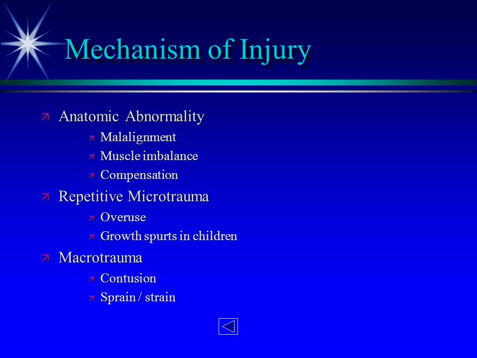 Mechanism of Injury Anatomic Abnormality Repetitive Microtrauma
