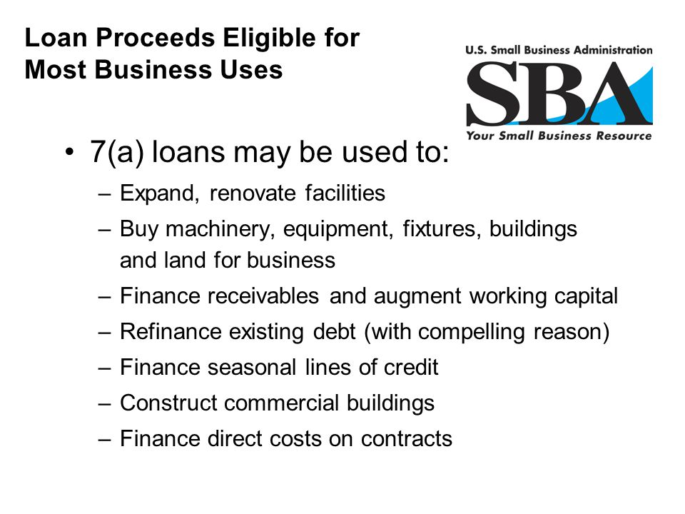 7(a) loans may be used to: