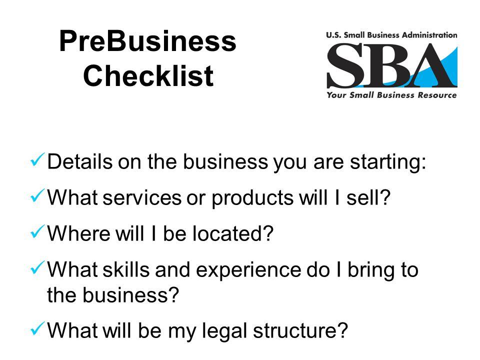 PreBusiness Checklist