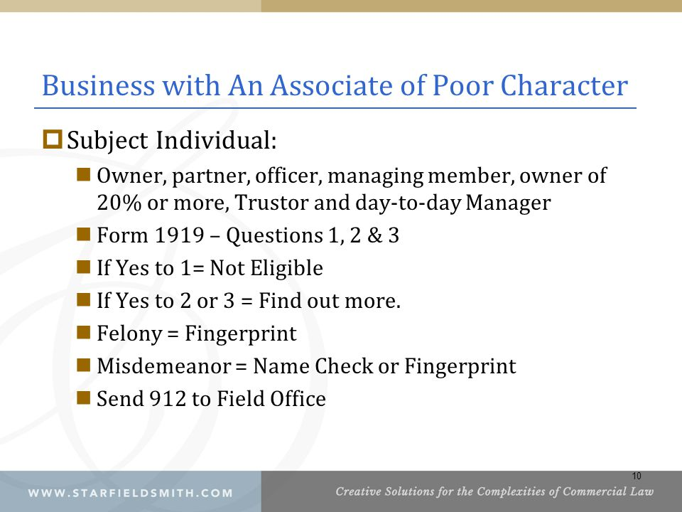 Business with An Associate of Poor Character