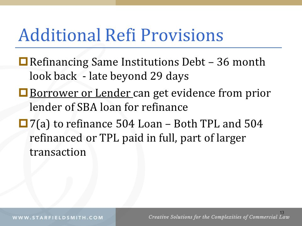 Additional Refi Provisions