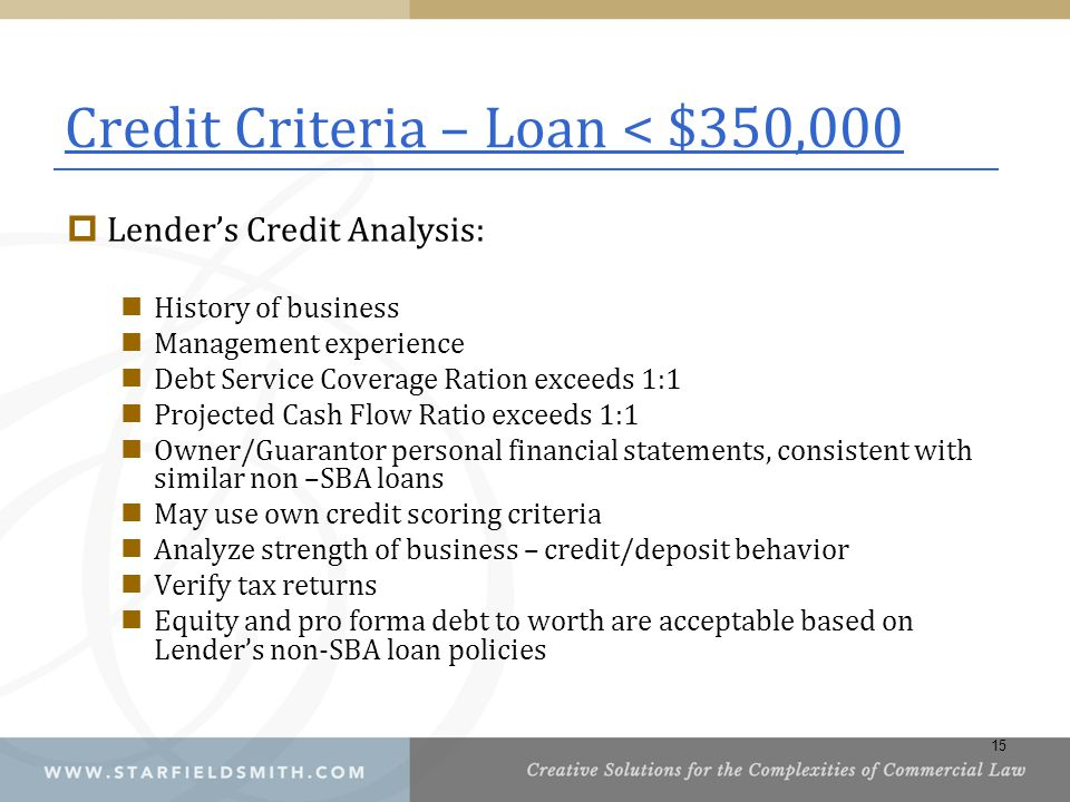 Credit Criteria – Loan < $350,000