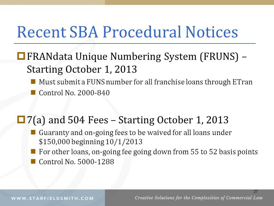 Recent SBA Procedural Notices