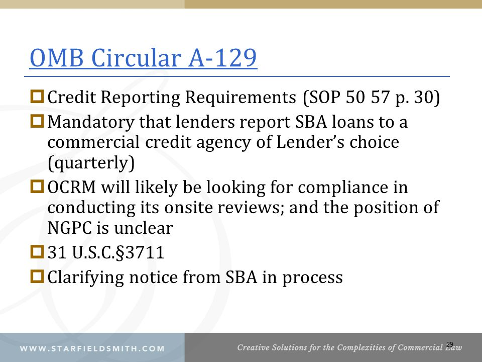 OMB Circular A-129 Credit Reporting Requirements (SOP 50 57 p. 30)