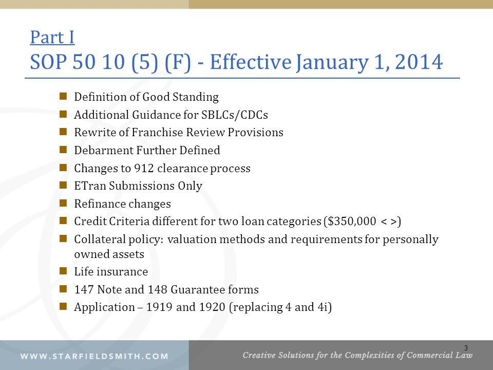 Part I SOP 50 10 (5) (F) - Effective January 1, 2014