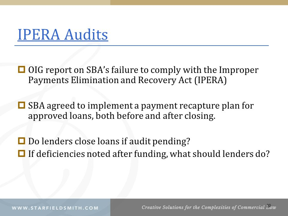 IPERA Audits OIG report on SBA's failure to comply with the Improper Payments Elimination and Recovery Act (IPERA)