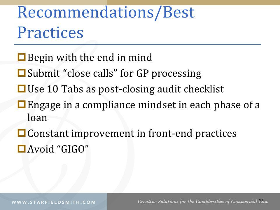 Recommendations/Best Practices