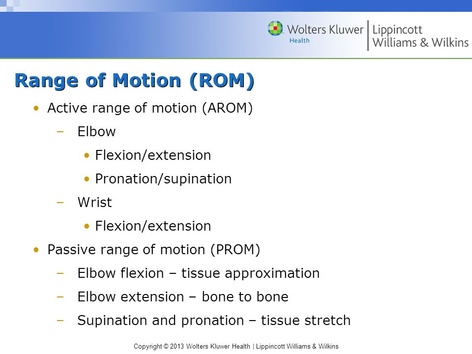 Range of Motion (ROM) Active range of motion (AROM) Elbow