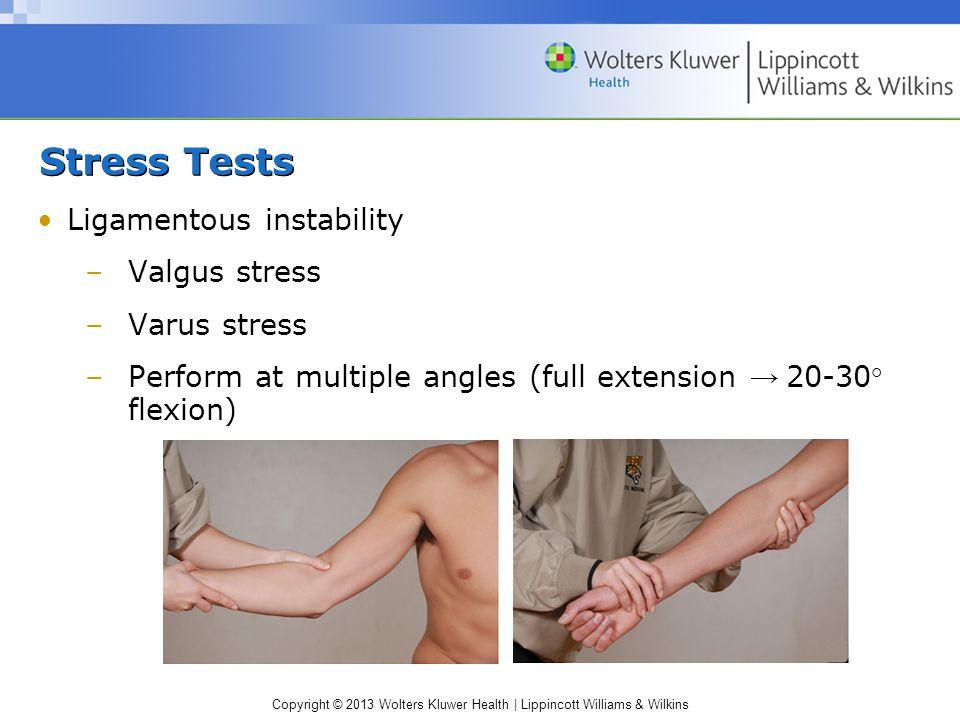Stress Tests Ligamentous instability Valgus stress Varus stress