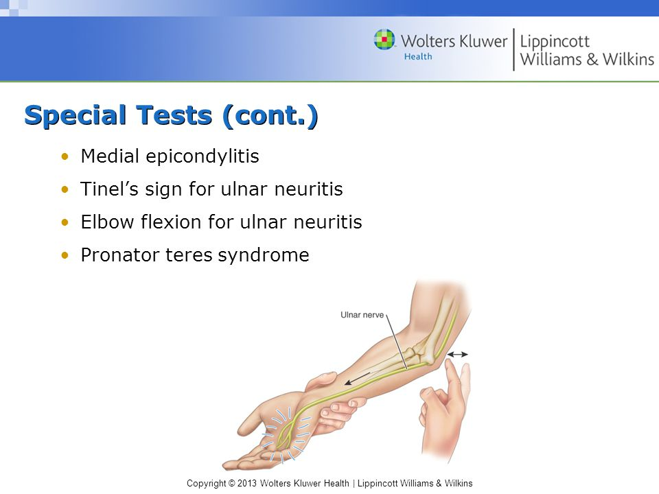 Special Tests (cont.) Medial epicondylitis