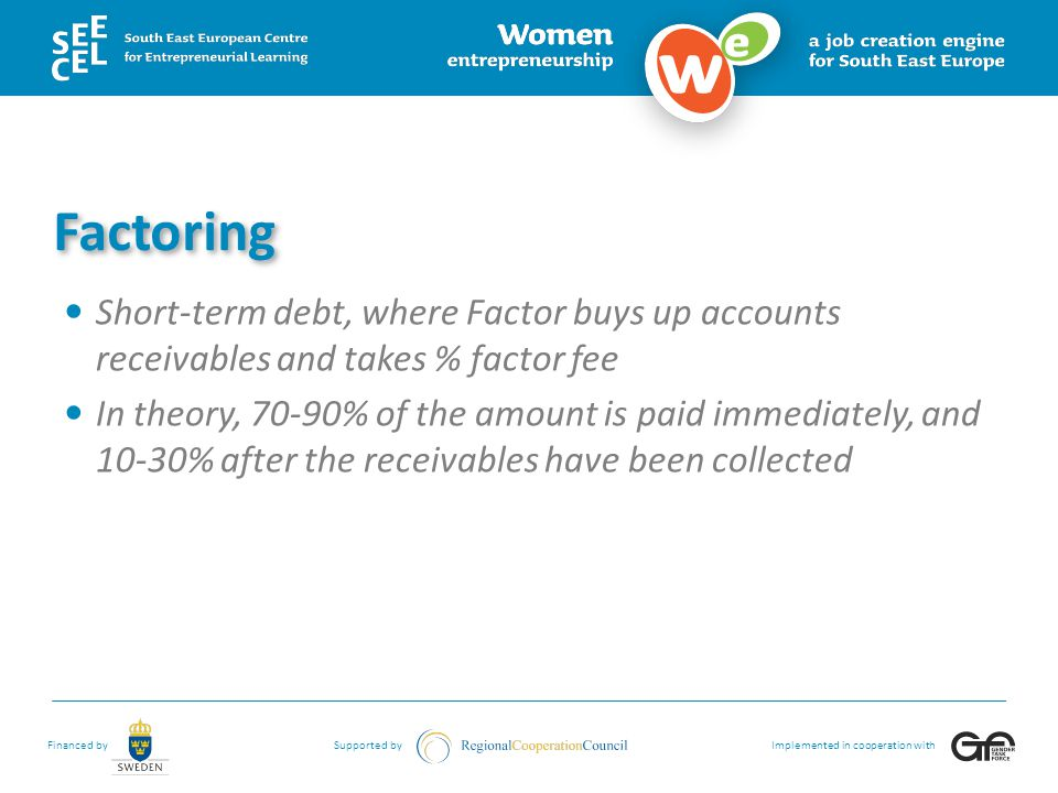 Factoring Short-term debt, where Factor buys up accounts receivables and takes % factor fee.