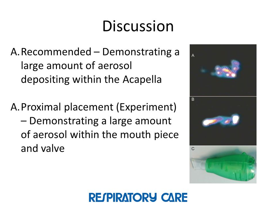 Discussion Recommended – Demonstrating a large amount of aerosol depositing within the Acapella.