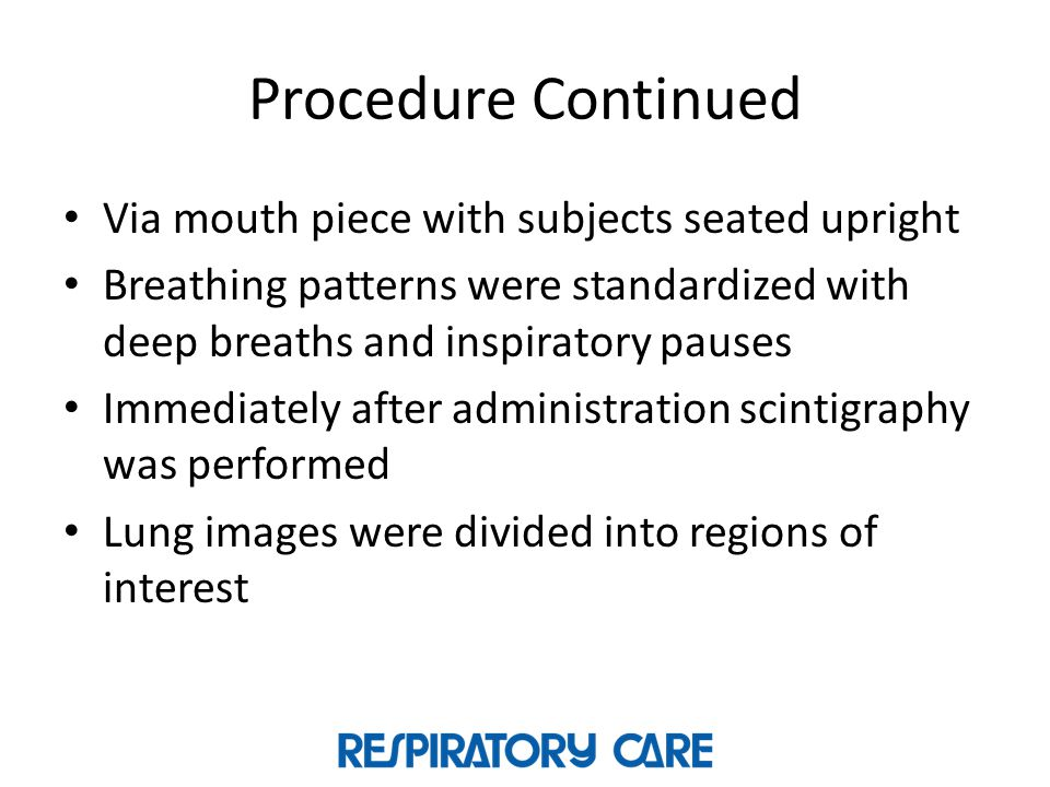 Procedure Continued Via mouth piece with subjects seated upright