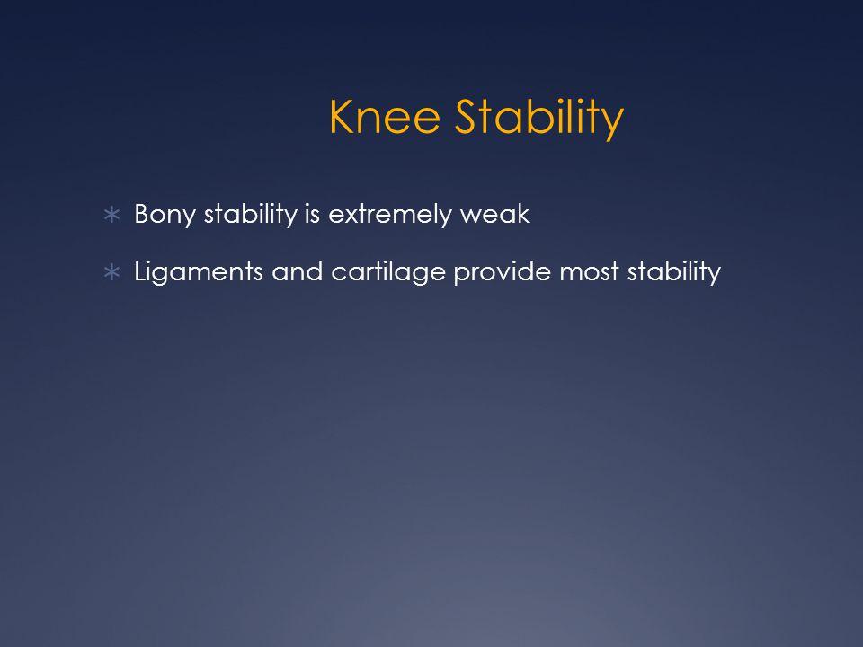Knee Stability Bony stability is extremely weak