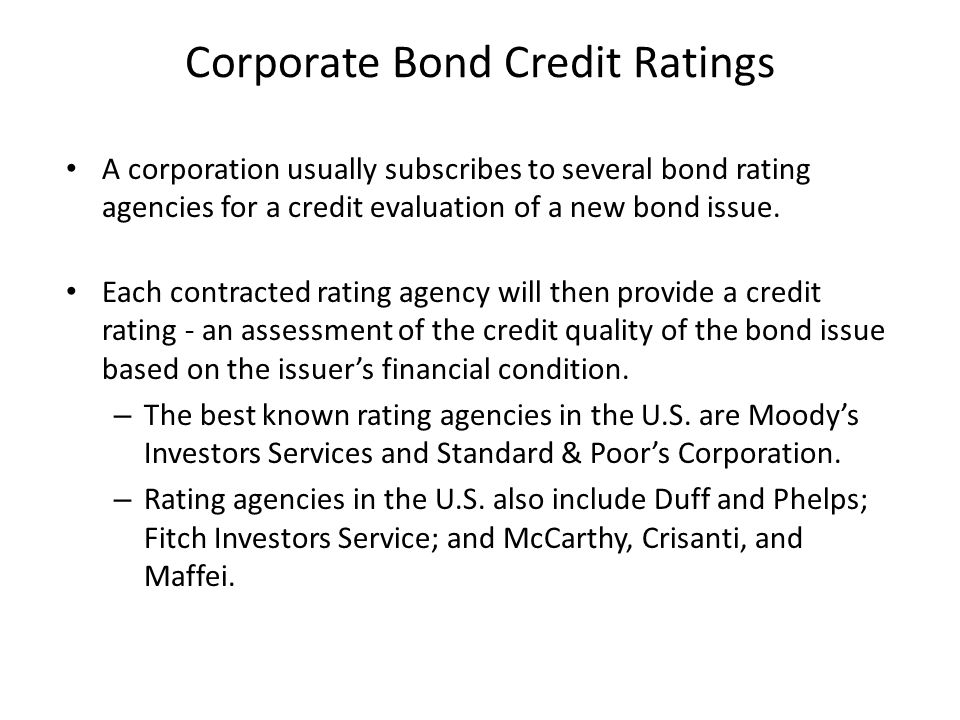 Corporate Bond Credit Ratings