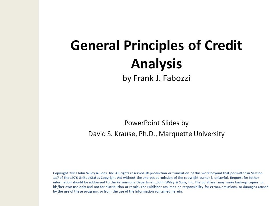 General Principles of Credit Analysis by Frank J. Fabozzi