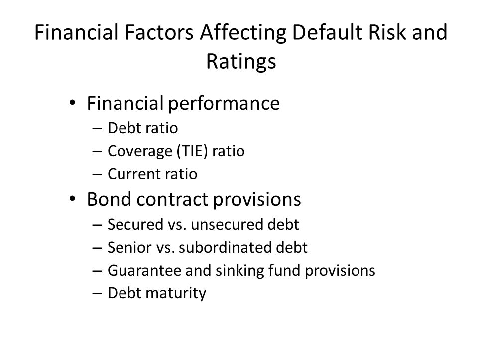 Financial Factors Affecting Default Risk and Ratings