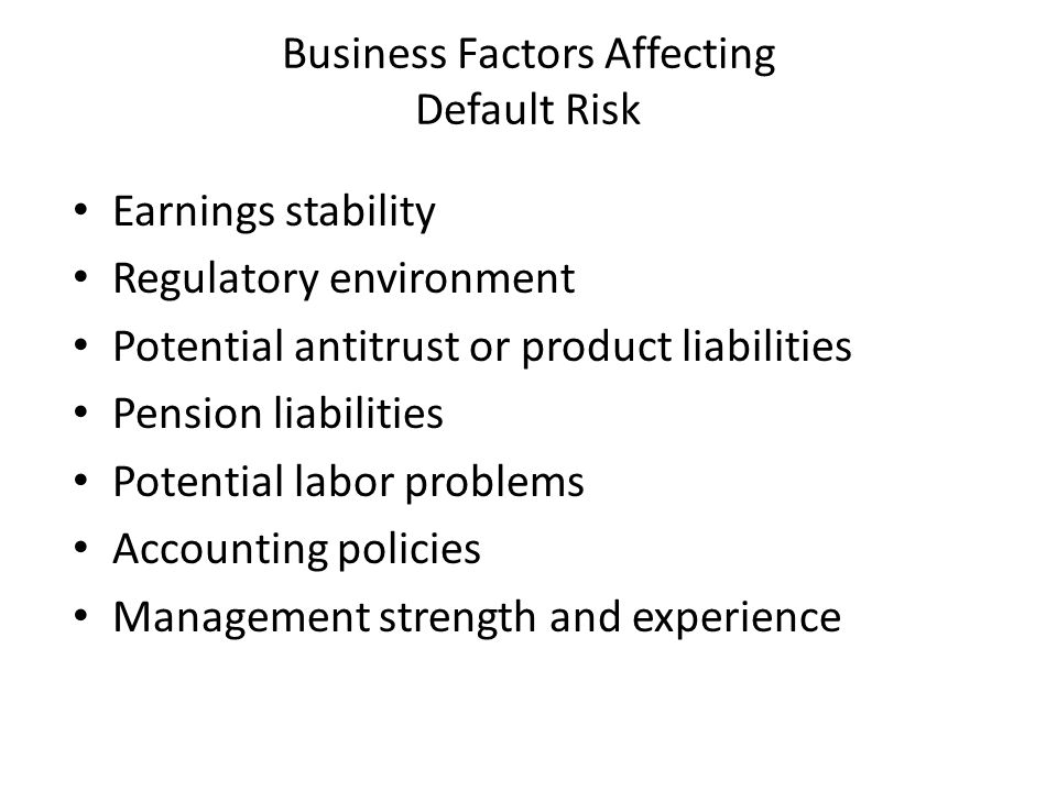 Business Factors Affecting Default Risk