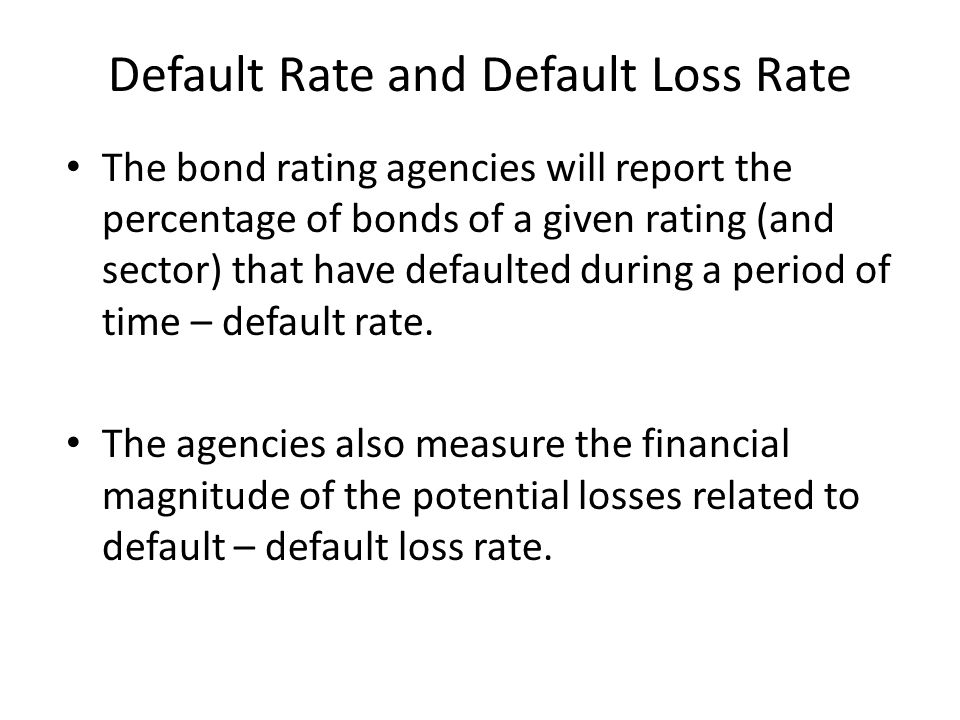 Default Rate and Default Loss Rate