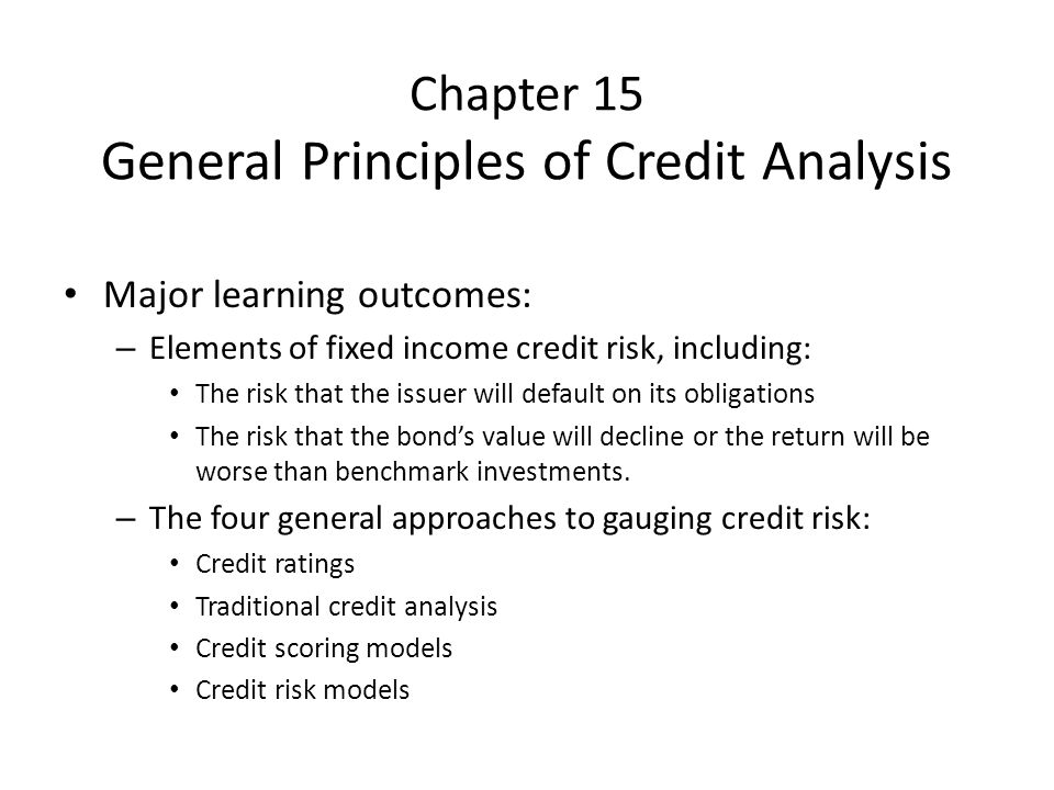 Chapter 15 General Principles of Credit Analysis