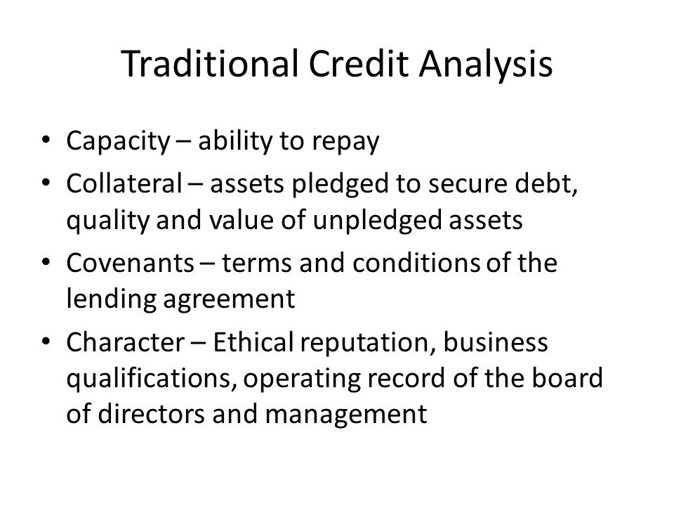 Traditional Credit Analysis