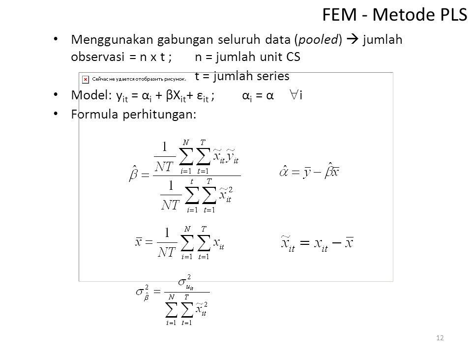FEM - Metode PLS Menggunakan gabungan seluruh data (pooled)  jumlah observasi = n x t ; n = jumlah unit CS.