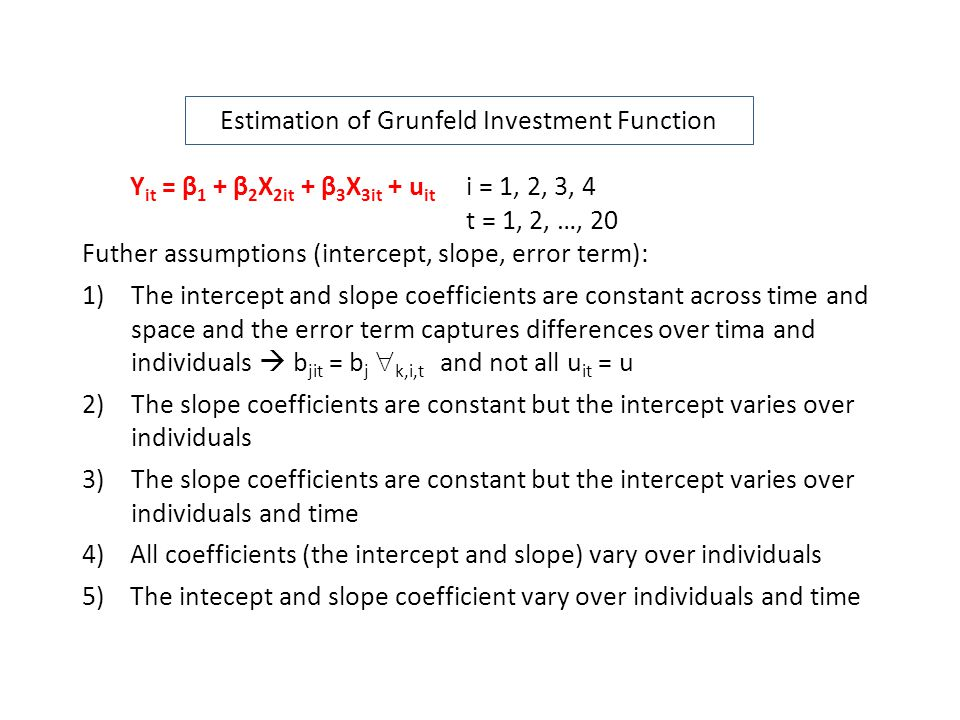 Estimation of Grunfeld Investment Function