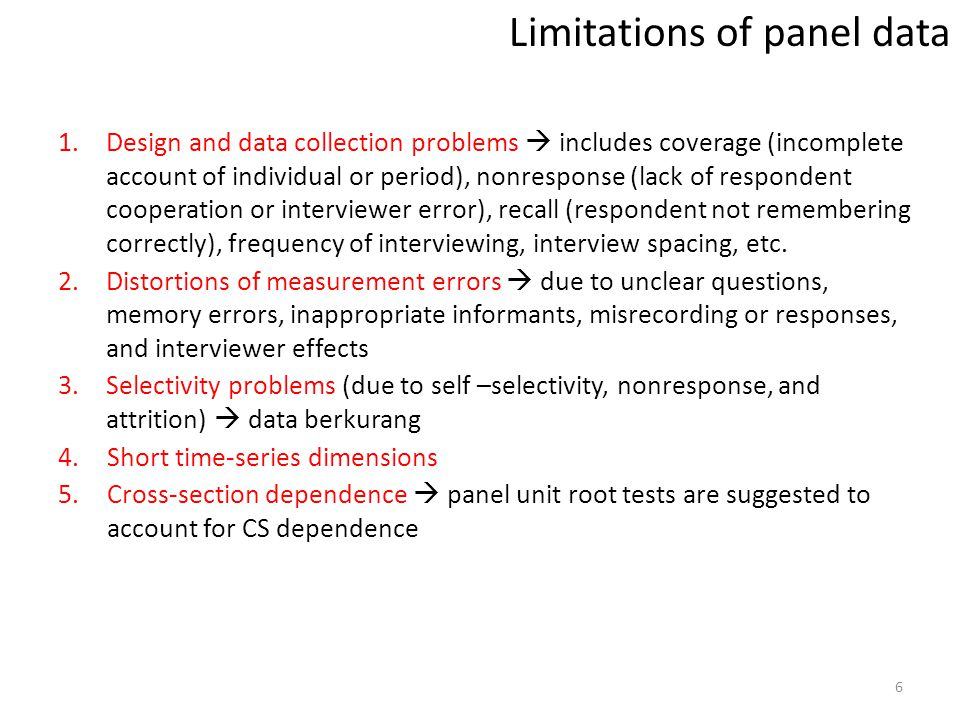 Limitations of panel data