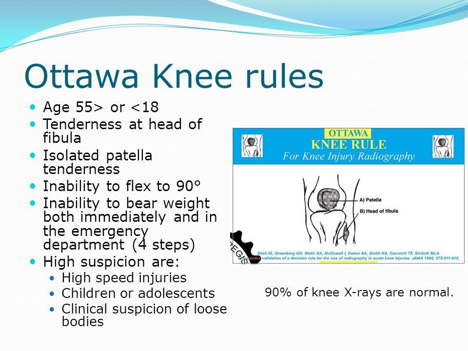 Ottawa Knee rules Age 55> or <18 Tenderness at head of fibula