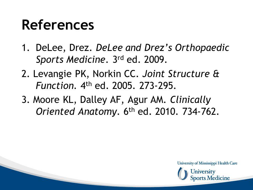 References DeLee, Drez. DeLee and Drez's Orthopaedic Sports Medicine. 3rd ed. 2009.