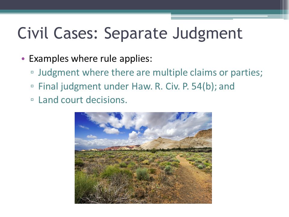 Civil Cases: Separate Judgment