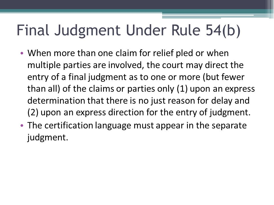 Final Judgment Under Rule 54(b)