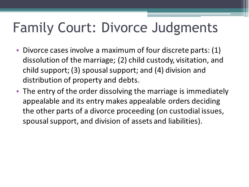 Family Court: Divorce Judgments