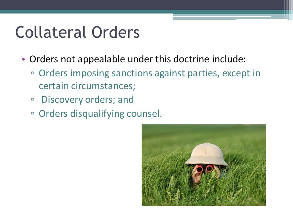 Collateral Orders Orders not appealable under this doctrine include: