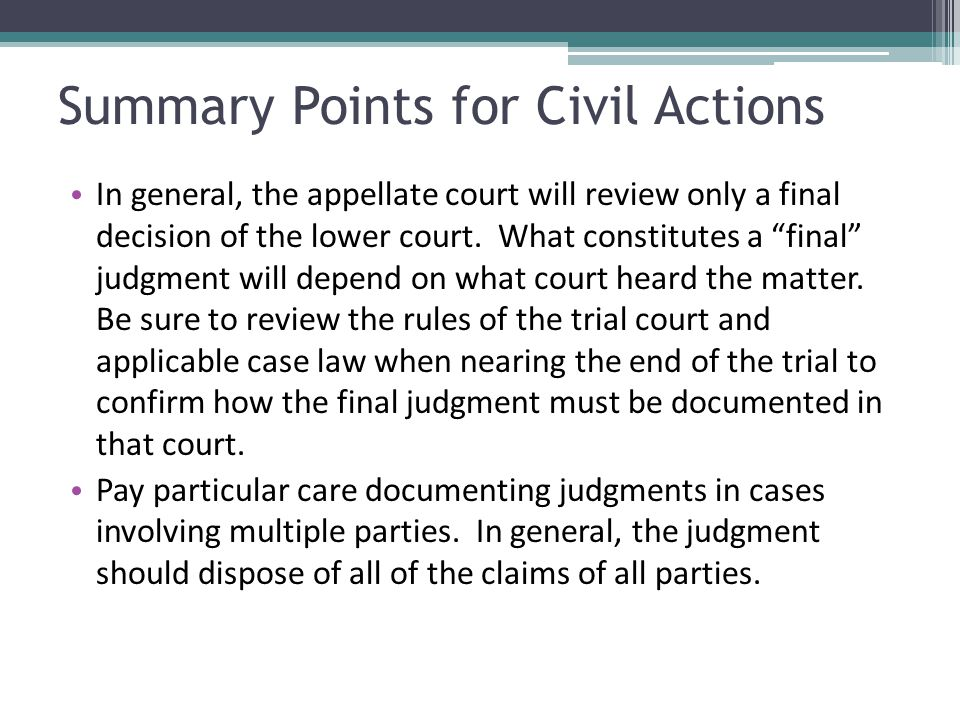 Summary Points for Civil Actions