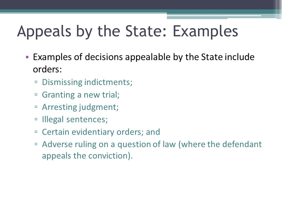 Appeals by the State: Examples
