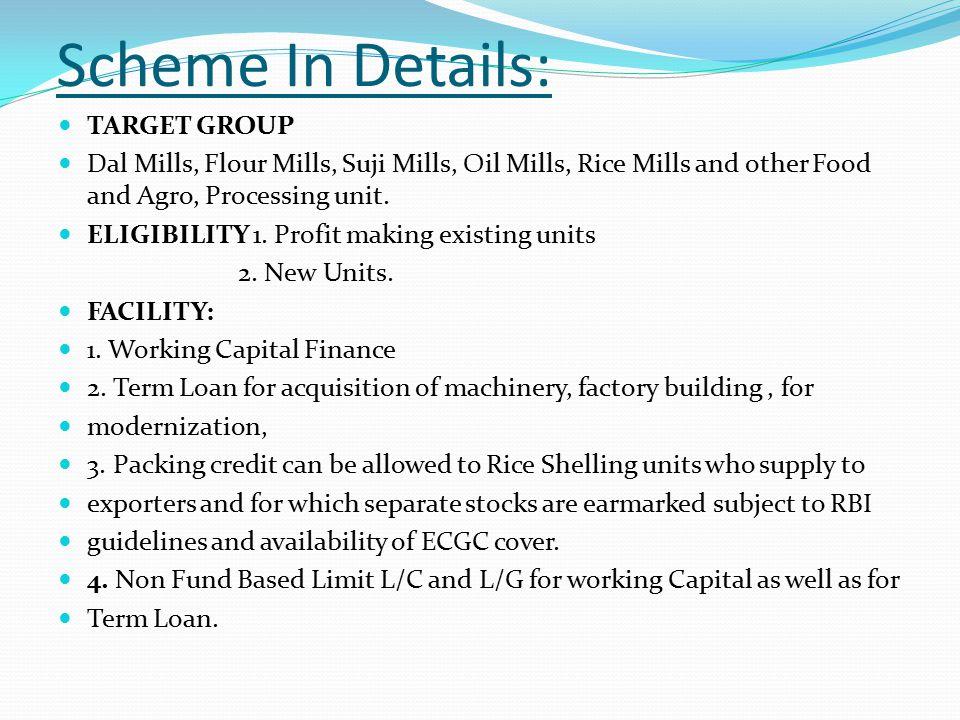 Scheme In Details: TARGET GROUP