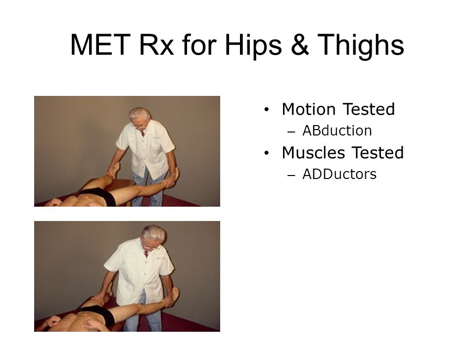 MET Rx for Hips & Thighs Motion Tested Muscles Tested ABduction