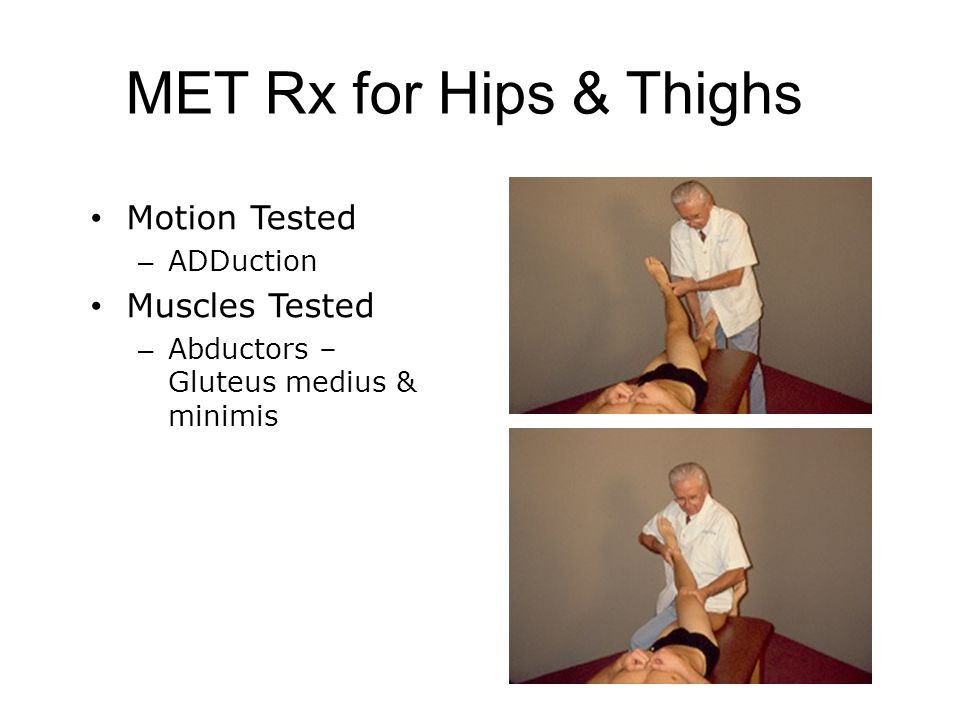 MET Rx for Hips & Thighs Motion Tested Muscles Tested ADDuction