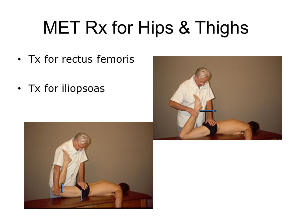 MET Rx for Hips & Thighs Tx for rectus femoris Tx for iliopsoas