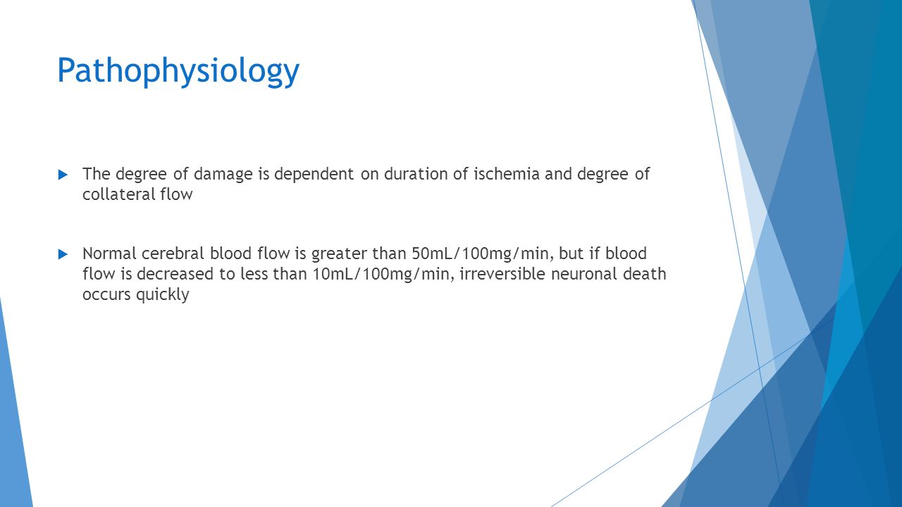 Pathophysiology The degree of damage is dependent on duration of ischemia and degree of collateral flow.