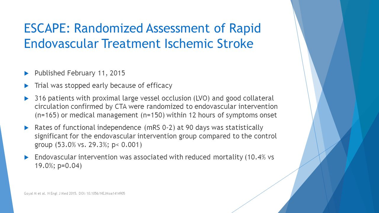 ESCAPE: Randomized Assessment of Rapid Endovascular Treatment Ischemic Stroke