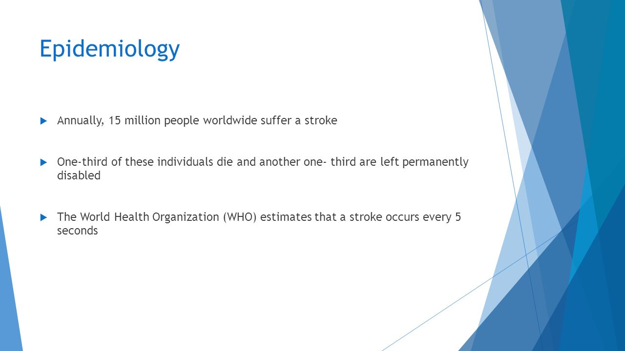 Epidemiology Annually, 15 million people worldwide suffer a stroke